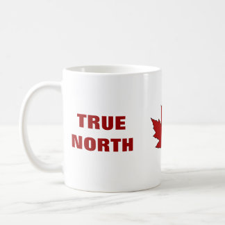 Taza de café roja del himno de la hoja de arce del
