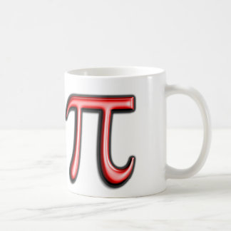 Taza de café roja del símbolo del pi
