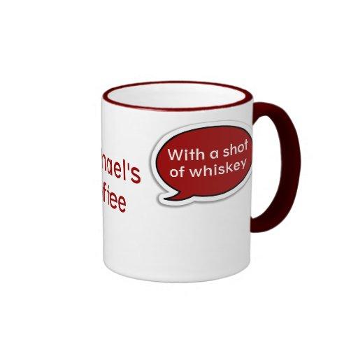 Taza de café roja personalizada de la burbuja del