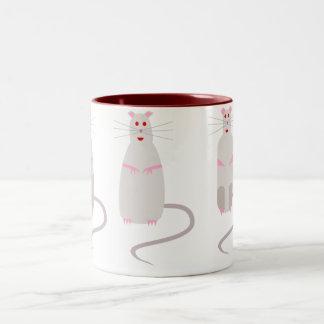 Taza de café Rojo-Observada de las ratas