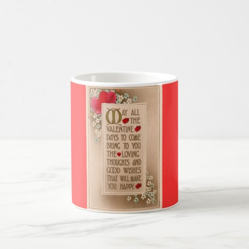 Taza de café romántica de los rosas del verso del