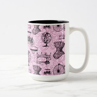Taza de café rosada del modelo de Steampunk