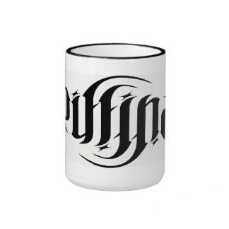 """Taza de café rotatoria del ambigram de """"GriffinArt"""