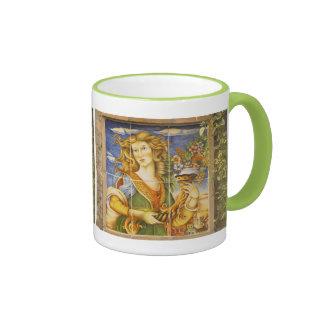 Taza de café--Señora de la teja de Deruta