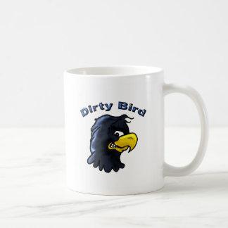 Taza de café sucia del pájaro