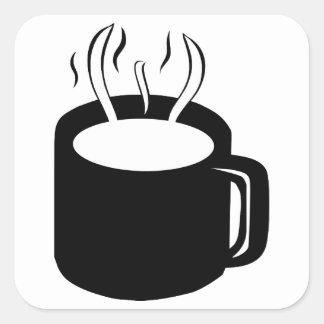 Taza de café/taza - cocido al vapor de la bebida pegatina cuadrada