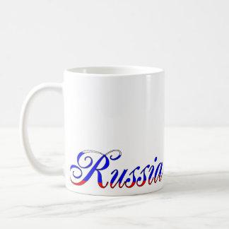 Taza de café tricolora de la escritura de Rusia