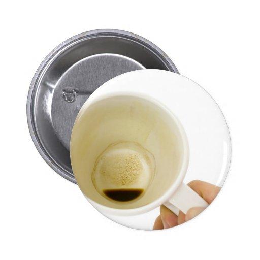 Taza de café vacía pin redondo 5 cm