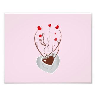 Taza de café, vapor, remolinos, corazones - blanco cojinete
