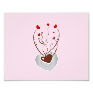Taza de café vapor remolinos corazones - blanco