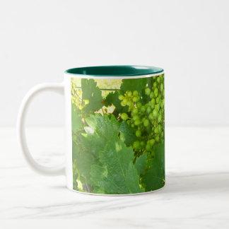 Taza de café verde de las uvas