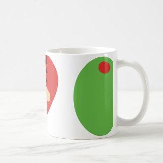 taza de café verde oliva del corazón i (blanca)