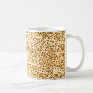 Taza de café vieja del mapa de calle de la ciudad
