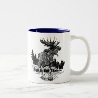 Taza de café vieja magnífica de los alces