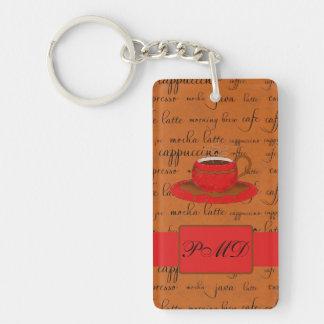 Taza de café y palabras Brown y con monograma rojo Llavero Rectangular Acrílico A Doble Cara