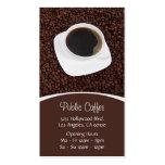 Taza de café y tarjeta de visita de las habas