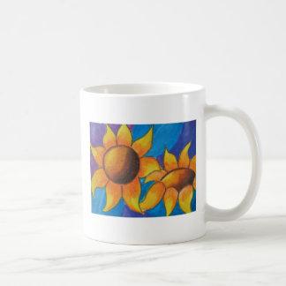 Taza de cerámica de los girasoles abstractos