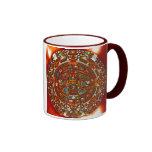 taza de cerámica del calendario azteca maya