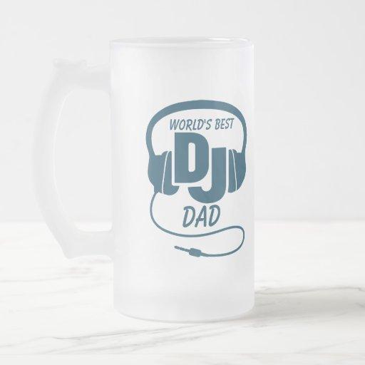 Taza de cerveza azul del mejor papá de DJ del mund