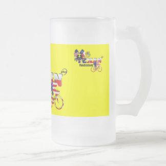 Taza de cerveza de cristal del ciclista excelente