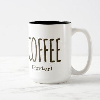 Taza de cerveza del arte del portero del café