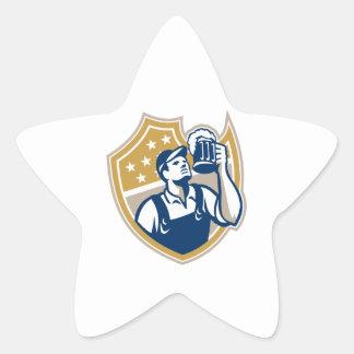 Taza de cerveza del camarero del camarero retra calcomanías forma de estrellas