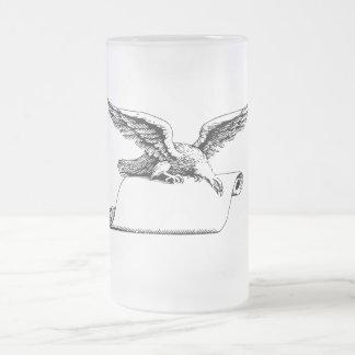 Taza de cerveza del vidrio esmerilado de Eagle del