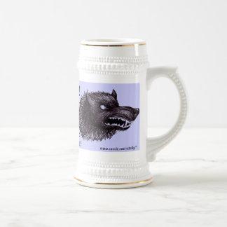 Taza de cerveza divertida del hombre lobo