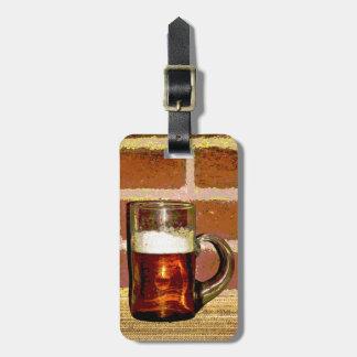Taza de cerveza etiquetas de equipaje