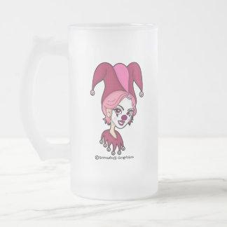 Taza de cerveza helada bufón rosado