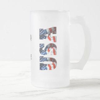 Taza de cerveza helada patriótica PERSONALIZADA de