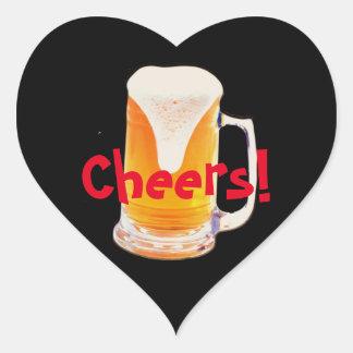 Taza de cerveza pegatina en forma de corazón
