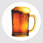 Taza de cerveza pegatina redonda