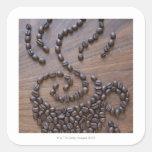 Taza de Coffe ilustrada usando los granos de café Colcomanias Cuadradass