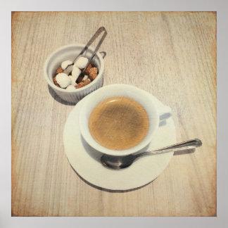 Taza de cubos del café y del azúcar para usted póster