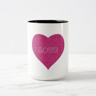 Taza de dos tonos con el corazón del amor