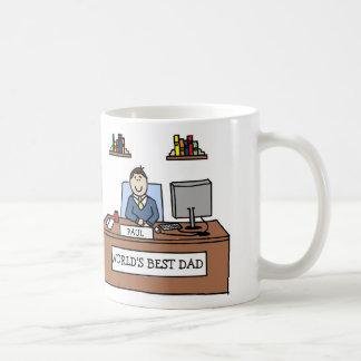 Taza de encargo del dibujo animado del mejor papá