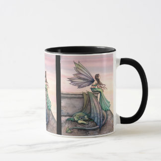 Taza de hadas encantada del dragón de la oscuridad