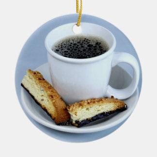 Taza de Java y de ornamento de Biscotti Adorno Navideño Redondo De Cerámica