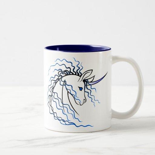 Taza de Ki-Rin (unicornio japonés) azul y negra