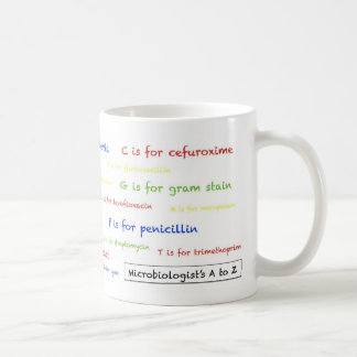 Taza de la A a del Z del microbiólogo - blanco