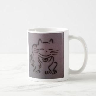 Taza de la alheña de Maneki Neko (gato afortunado)
