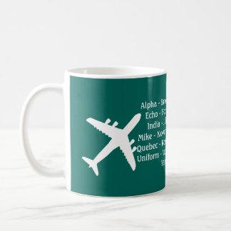 Taza de la aviación del alfabeto fonético de los