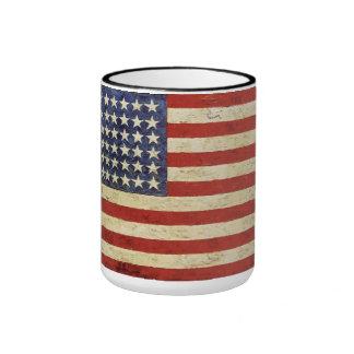 Taza de la bandera americana del vintage