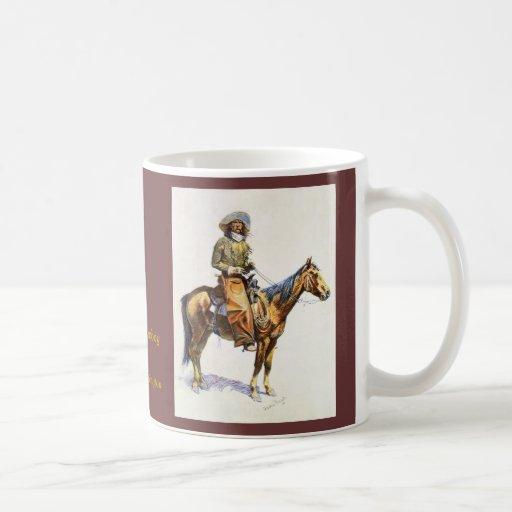 Taza de la bella arte de Remington del vaquero de