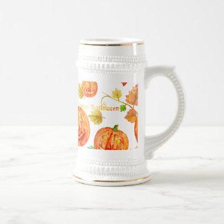 Taza de la calabaza de Halloween de la acuarela
