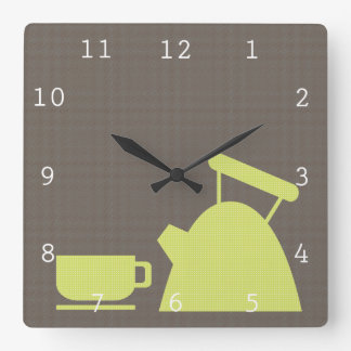 Taza de la caldera y de té reloj cuadrado