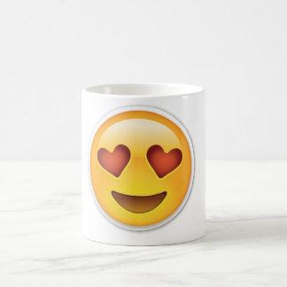 Taza de la cara del corazón del amor de Emoji