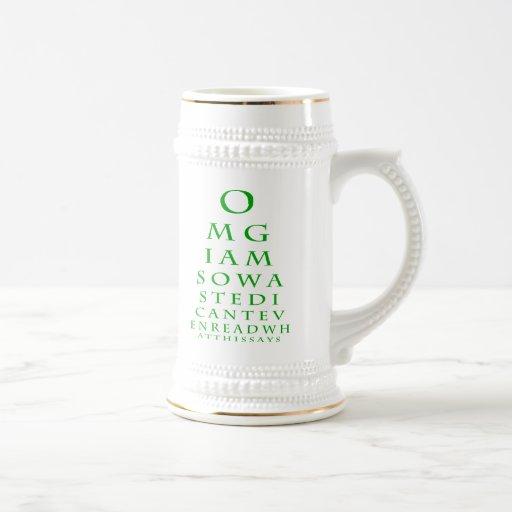 Taza de la carta de ojo (verde)
