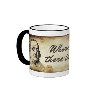 Taza de la cita de la libertad de Ben Franklin